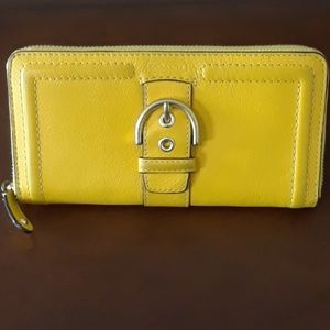 Coach wallet mustard color leather buckle wallet